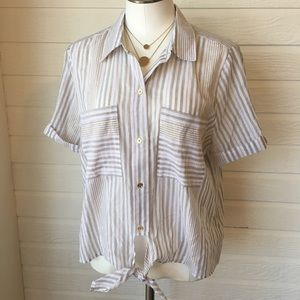 Michael Kors short sleeve tie top